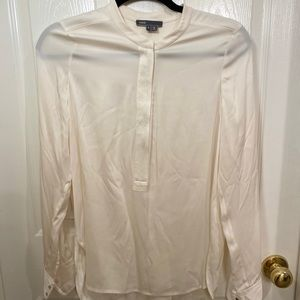 Vince front zip Beige Silk Blouse Small